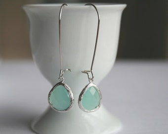 Mint Opal Earrings in Silver. Mint Earrings. Bridesmaids Earrings. Bridesmaids. Wedding Earrings. Bridal Jewelry.Delicate.Dainty.Simple.Sale