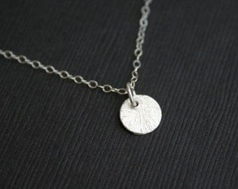 Tiny Sterling Silver Disc Necklace. Circle Necklace. Wedding Necklace. Bridesmaids Gifts. Bridal Necklace. Wedding Jewelry.