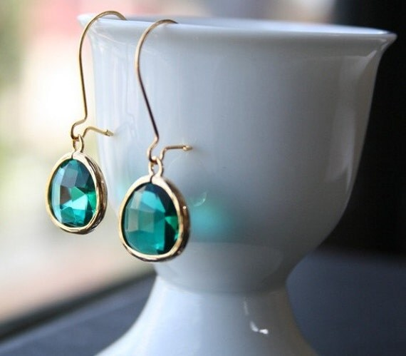 Gold Green Earrings. Emerald Earrings.Bridesmaid Earrings.Bridal Jewelry.Wedding Earrings.Bridesmaid Gift.Dangle Earrings. Dark Green.Gift