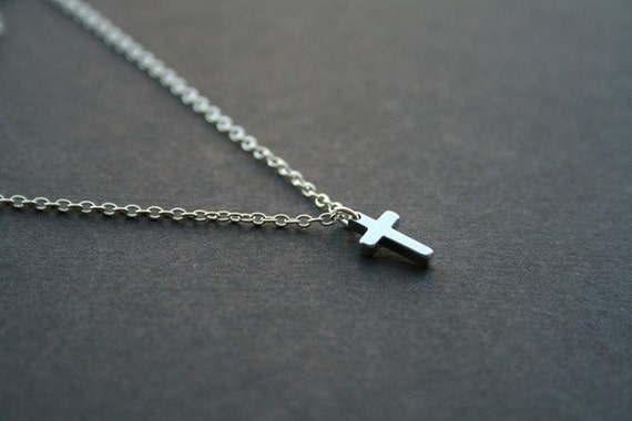 Petite Cross Charm Necklace in Silver. Cross Necklace. Silver Cross Necklace. Daughter Sister. Friendship. Cross Jewelry. Simple. Everyday.