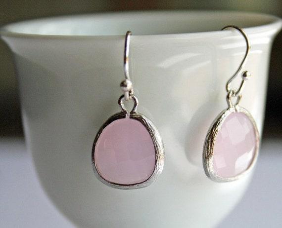 Blush Pink Earrings. Pink Opal Earrings. Ice Pink Earrings. Silver Pink Earrings.Bridesmaid.Bridesmaid Gift. Wedding. Bridal Earrings.Bridal