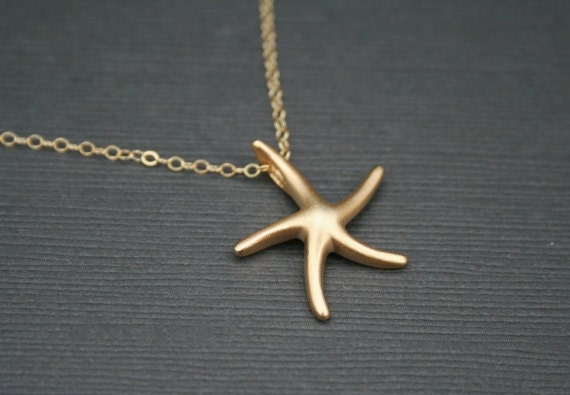 Gold Starfish Necklace. Gold Star Necklace. Star Necklace. Simple. Bridesmaid Necklace. Bridesmaid Gift. Bridal Jewelry. Wedding.Christmas