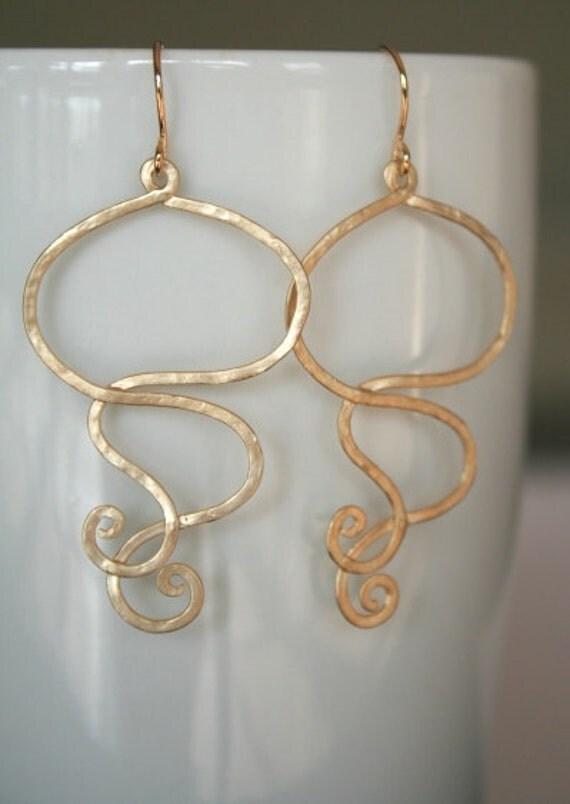 Matte Gold Swirl Earrings. Gold Earrings. Boho Earrings.Bohemian.Simple Jewelry.Everyday.Sister.Mom.Daughter.Birthday.Niece.Cousin.Wife.Sale