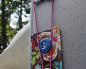 Fabric Bookmark - Flower Stripe Pink Orange Blue White Yellow
