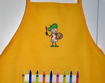 Crayon Apron/Art Apron - Yellow Painter