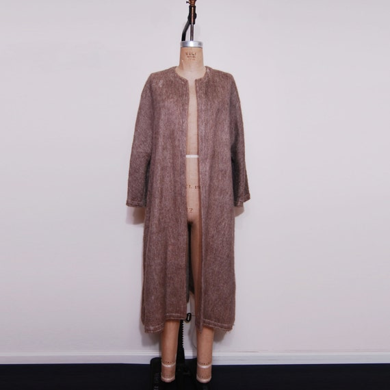 Vintage Women's 1960's-70's Brown Slouchy Boho Sweater Full Length Long Coat.