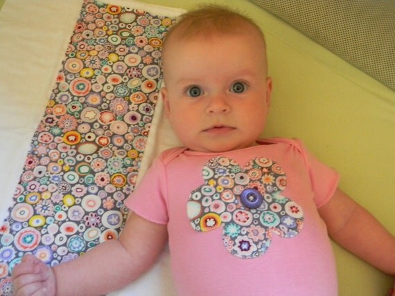 Reserved for Mandy: Baby girl pink flower applique onesie (size S) and matching burp cloth