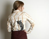 Nougat Cream Cat Print Shirt Screenprint on Long Sleeve Blouse - Medium