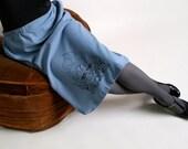 Screenprint Blue Skirt - Sugar Skull Whimsical Hair Fairy Girl Art - Large XL - Dias De Los Muertos