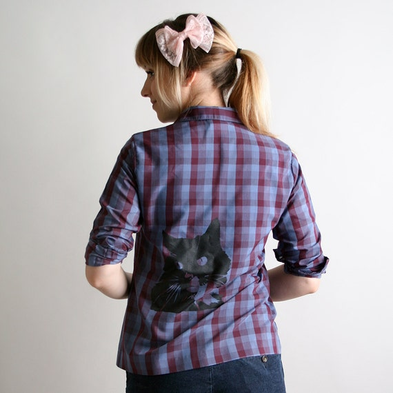 Screen Print Cat Shirt Plum Purple Plaid Button Up Grape