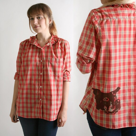 Red Plaid Dog Shirt Screen Print of Puppy Western Style Large XL Berry