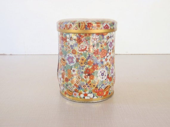 Colorful Vintage Flower Power Metal Tin Canister