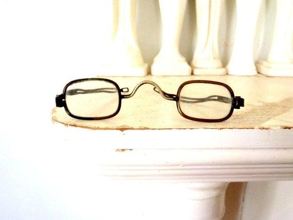 1800s Antique Eye Glasses Square Glass Lens