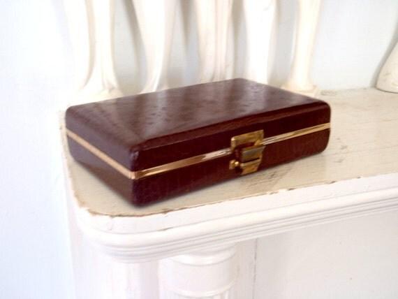 Cuff Links Box Antique Jewelry Box Faux Croc Vintage Box