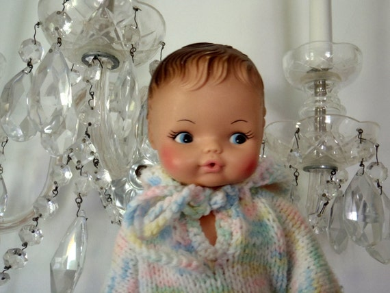 Vintage Baby Doll Hand Painted Face Handmdae Clothing 1970s Doll