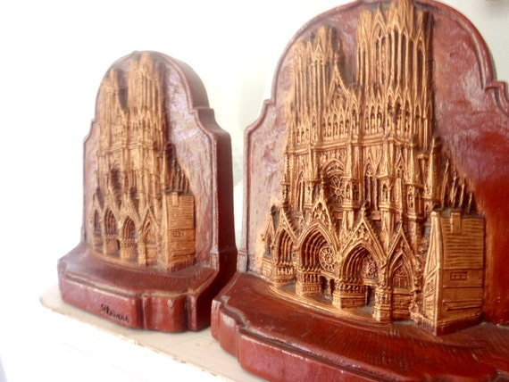 Vintage Rheims Cathedral Bookends