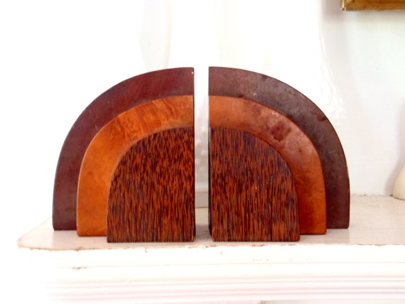 Bookends Art Deco Style Mid Century Bookends Curved Wood