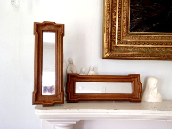 Long and slim vintage wall hanging mirror by for Long wall hanging mirrors