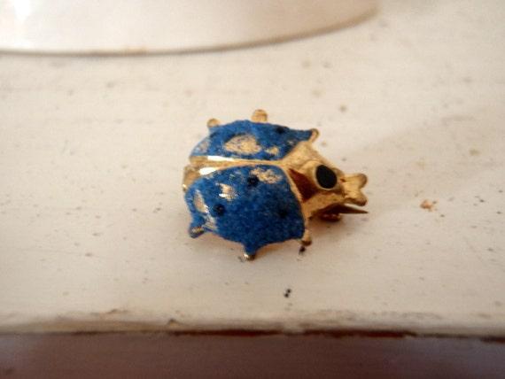 Vintage Brooch Miniature Blue Lady Bug PIn
