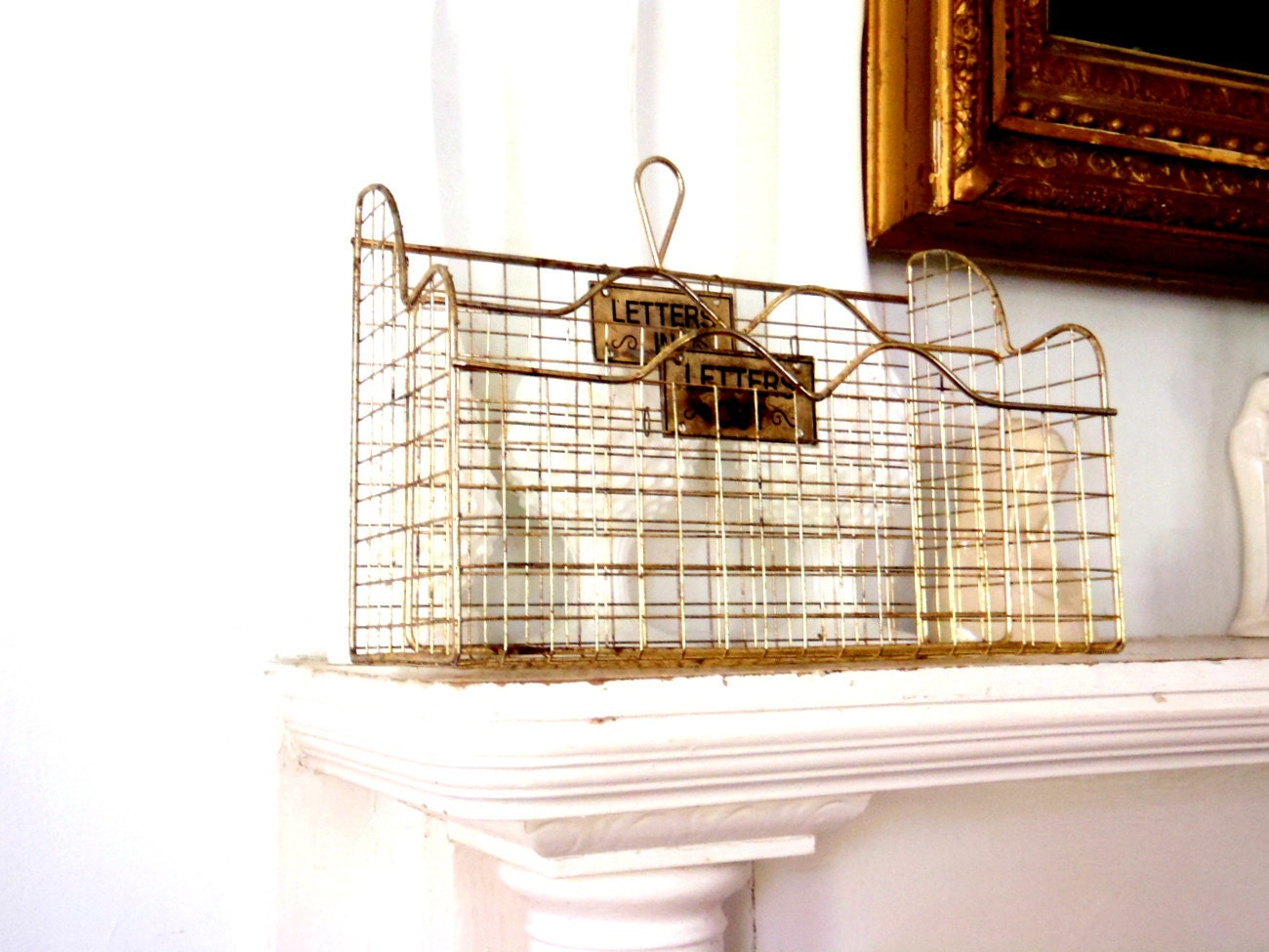 Wire basket mail box letter box vintage desk organizer letter - Wire desk organizer ...