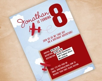 DIY Airplane Birthday Party Invitation