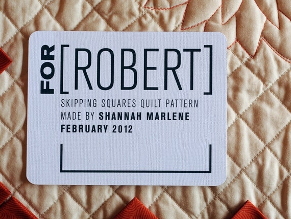 For Him Personalized Quilt Label • Customized Masculine Quilt Patch • Contemporary Fabric Label • Modern Sew On Patch • Iron On Label