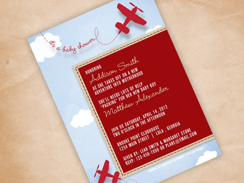 print your own airplane baby shower invitation