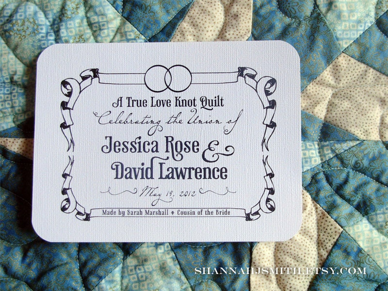 Personalized Wedding Rings Fabric Quilt Label Blanket Patch : personalized fabric quilt labels - Adamdwight.com