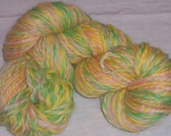 Handspun Yarn, Tulip Garden, Handpainted, Bulky, 140 yards, 2 ply, wool
