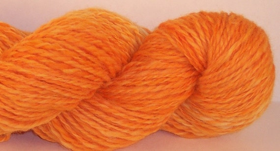 Handspun Yarn, Rocky Top Tennessee Big Orange,  Leicester Wool, 2 ply, 206 yards, UT, Worsted Weight