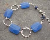 Blue Quartz Bracelet with Hammered Sterling Silver Rings // Handmade Gemstone Bracelet in Sterling Silver