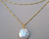 Coin Pearl Necklace in 14K Gold Fill, Satellite Chain Pearl Necklace, June Birthstone Necklace
