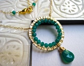 Green Onyx Necklace, Gold Ring Wire Wrapped Necklace in 14K Gold Fill, Green Gemstone Necklace