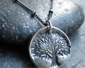 Rustic Tree of Life Necklace in Oxidized Sterling Silver