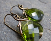 Olive Green Swarovski Crystal and Antique Brass Earrings, Leaf Green Glass Earrings