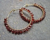 Garnet Hoop Earrings, January Birthstone Earrings, Wire Wrapped Red Gemstone Gold Hoop Earrings