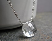 Crystal Quartz Gemstone Necklace with Sterling Silver Satellite Chain, Rock Crystal Gemstone Necklace, Clear Crystal, Pendant Necklace