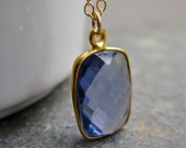 Bezel Set Blue Quartz Handmade Gold Necklace, Cornflower Blue Gemstone Necklace
