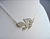 Silver Leaf Necklace, Leaf Necklace in Sterling Silver, Minimalist Metal Necklace, Handcrafted Necklace, Nature Jewelry