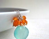 Aqua Chalcedony and Carnelian Necklace, Handmade Gemstone Sterling Silver Necklace, Seafoam and Orange Gemstone Necklace