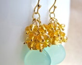 Citrine and Aqua Chalcedony Gemstone Earrings, Handmade Wire Wrapped Gold Earrings
