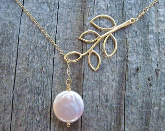 Coin Pearl and Gold Branch Lariat Necklace, June Birthstone Handmade Necklace, Freshwater Pearl Necklace in Gold Fill