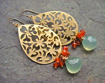 Aqua Chalcedony and Carnelian Gold Bohemian Dangle Earrings, Gold Lace Earrings with Orange and Turquoise Gemstones