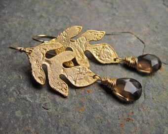Smoky Quartz Gold Leaf Earrings, Gemstone Wire Wrapped Gold Dangle Earrings, Autumn Leaves Brown Gemstone Gold Earrings