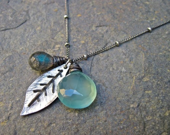 Aqua Chalcedony and Labradorite Necklace with Silver Leaf Charm, Oxidized Sterling Silver Satellite Chain