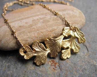 Gold Oak Leaf Necklace,  Fall Leaf Jewelry, 14K Gold Filled Satellite Chain Necklace,  Rustic Leaf Necklace