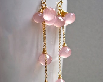 Pink Chalcedony Dangle Earrings in 14K Gold Fill, Light Pink Gemstone Bridal Earrings, Romantic Pink Stone Earrings