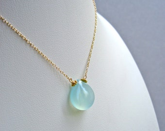 Aqua Chalcedony Gemstone Necklace, Smooth Aqua Chalcedony Teardrop 14K Gold Filled Handmade Necklace