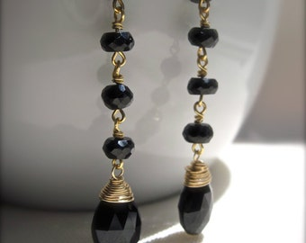 Black Gemstone Dangle Earrings, Black Spinel Earrings in 14K Gold Fill, Wire Wrapped Gold Earrings