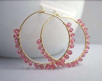 Topaz Earrings, Pink Gemstone Wire Wrapped Gold Hoop Earrings, Gold Gemstone Earrings, Pink Stone Gold Hoop Earrings